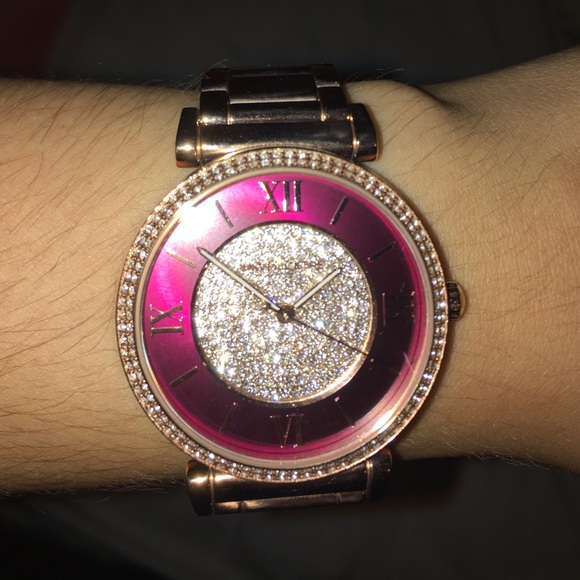 d068603b125fe Michael Kors Rose Gold Watch with Burgundy Face. M 57ab78062599fee16e00034c