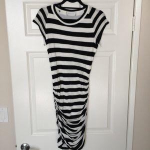 A.L.C. Dresses & Skirts - A.L.C. Black & white short sleeve sideruched dress