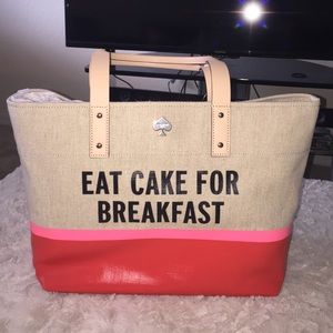 Eat cake for breakfast Kate spade tote RARE