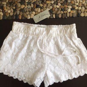 Anthropologie Pants - ANTHROPOLOGIE WHITE EYELET LACE 2LAYER SHORTS!swim