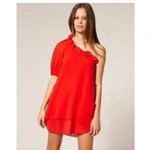 NWT ASOS TFNC LONDON RED ONE SHOULDER DRESS M