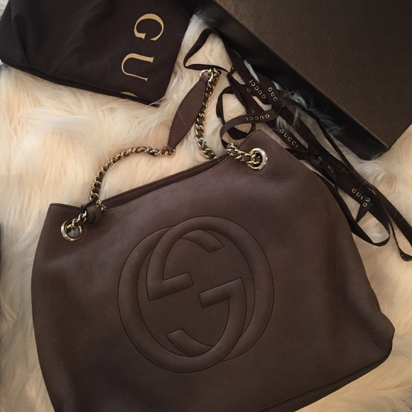 30cb6225bc34 SOLD   Gucci soho leather shoulder bag nubuck