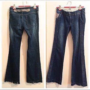 Free People Denim - Free People Flared Leg Tuxedo Dark Blue Jeans