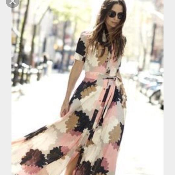 Maxi floral shirt dress