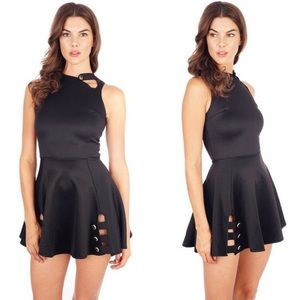 Want My Look Dresses & Skirts - Sexy black scuba dress with gold buttons