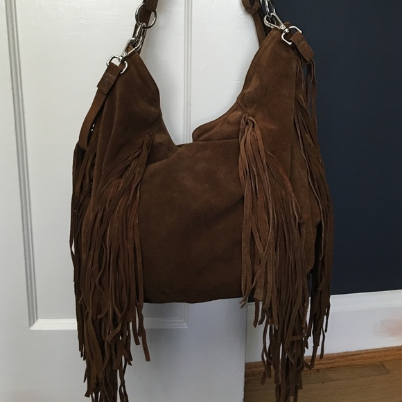 77% off Zara Handbags - Zara Suede Hobo Bag with Fringe from H's ...