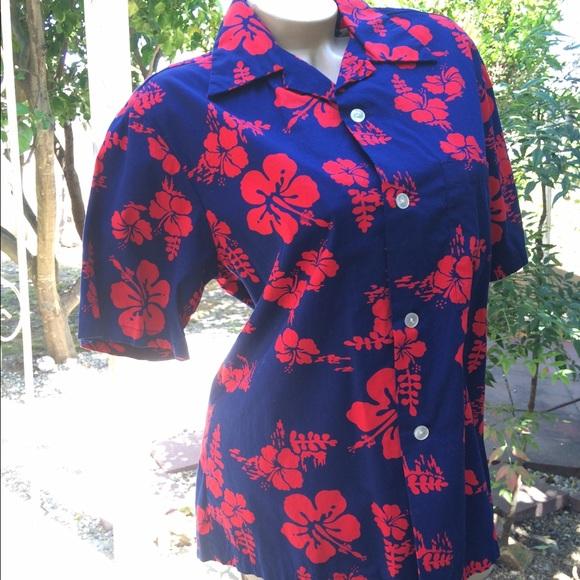 918bff4f Vintage Tops | 1970s Ui Maikai Blue Red Hawaiian Shirt | Poshmark