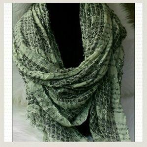 Accessories - Green, Purple, Metallic scarf