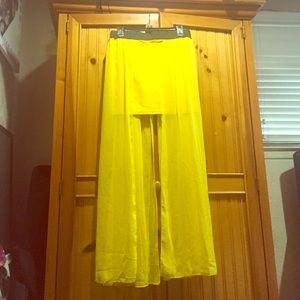 Mini skirt and full length sheer overlay!
