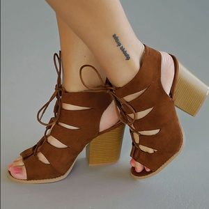 Shoes - Dark rust cut out lace up heels