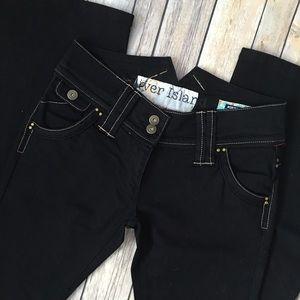 River Island Denim - River Island Jeans Skinny Flare Black Flap Pockets