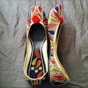 Shoes - Got Married Sale! Red Pom Pom Jutti