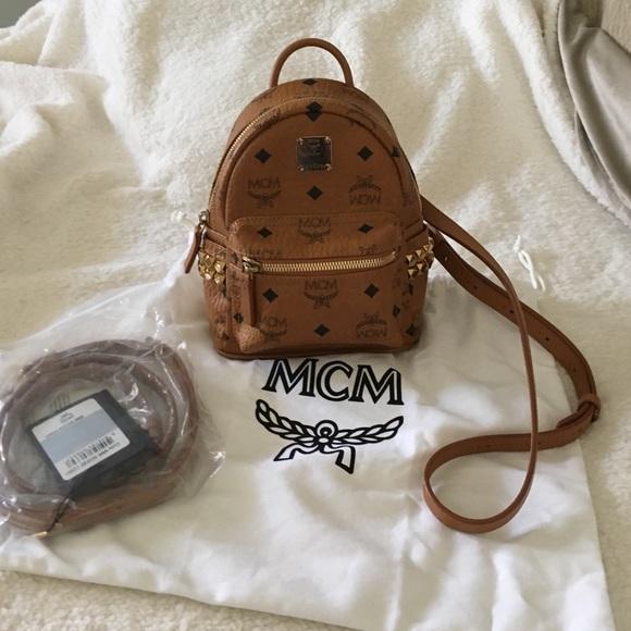 153a05f285d0 MCM Bags | Stark Stud Xmini Backpack In Cognac | Poshmark
