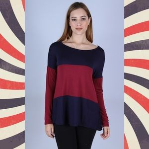Navy & Burgundy Color Block Tunic