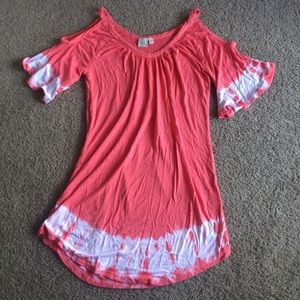 St. Tropez Dresses & Skirts - Coral Tie Dye Cold Shoulder Dress