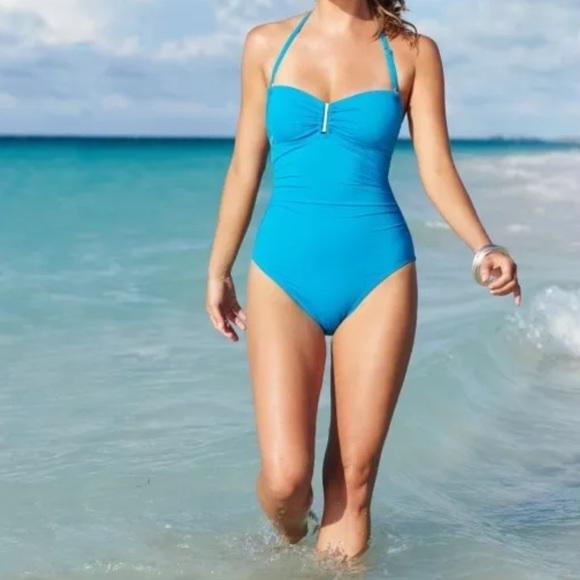 a2880e6994069 Calvin Klein Swim | Blue Bandeau One Piece Suit | Poshmark