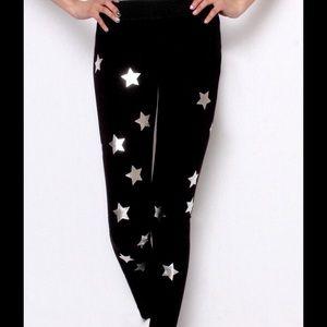 Starry Stars Silver Foil Black Leggings S