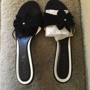 Unisa Shoes - Suede/leather slides with rhinestones accent Black