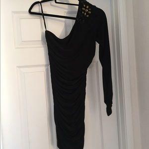 One-shoulder long-sleeved black mini dress