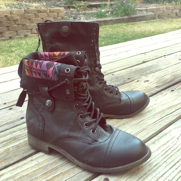 60% off Rampage Shoes - Black combat boots with cute native ...