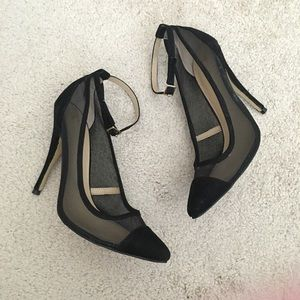 Shoes - Black Mesh Pointed Toe Ankle Strap Heels