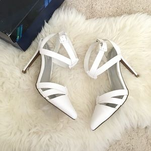 Tildon Shoes - White Pointed Toe Strappy Heels