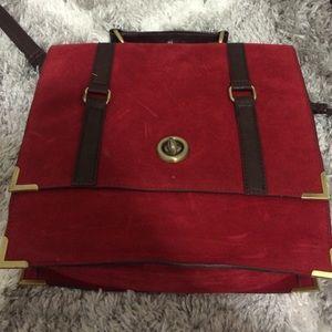 Red suede messenger bag