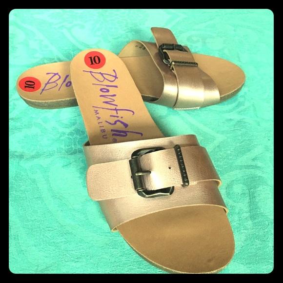 42474b7eef9a Blowfish Shoes - Blowfish Rose Gold Metallic Faux Cork Slide Sandal