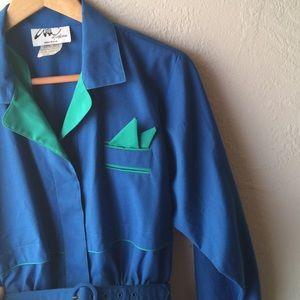 Price drop! Vintage royal blue & green dress suit