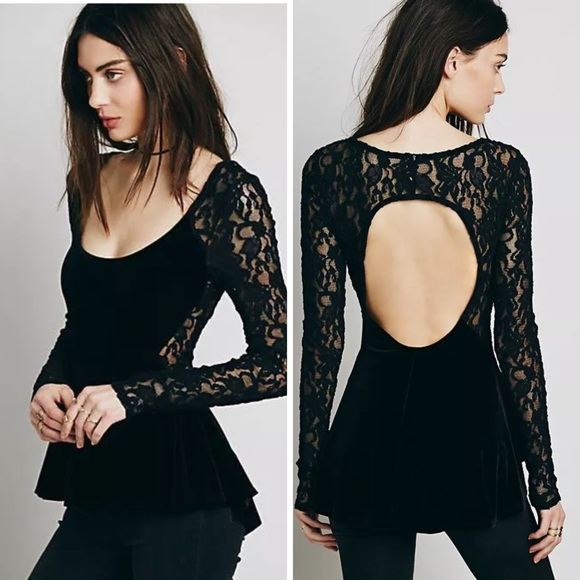 4f2248feb6249c Free People Tops - FREE PEOPLE LOLITA BLACK VELVET LACE PEPLUM TOP