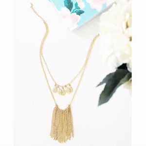 Hammered Teardrops & Fringe Statement Necklace