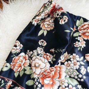 Vintage Large Silk Floral Scarf