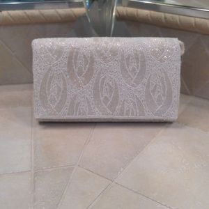 BRAND NEW WHITE  BEADED EVENING CLUTCH