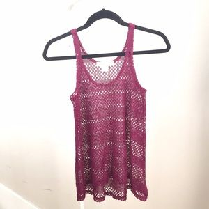 Urban Outfitters Tops - Like NEW urban outfitters burgundy open knit tank