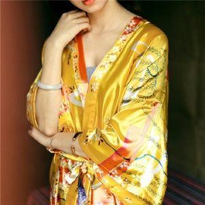 Mid Length Satin Kimono Robe