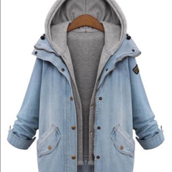 Denim jacket with built in grey hoodie M from Crystal&39s closet on