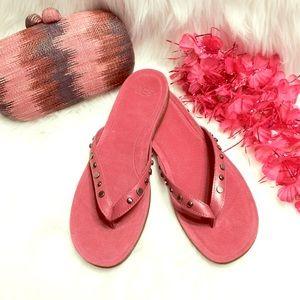 UGG Pink Suede Lyndi Sandals