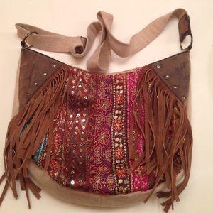 Antik kraft Handbags - Antik Kraft cotton/jute/suede fringe bag
