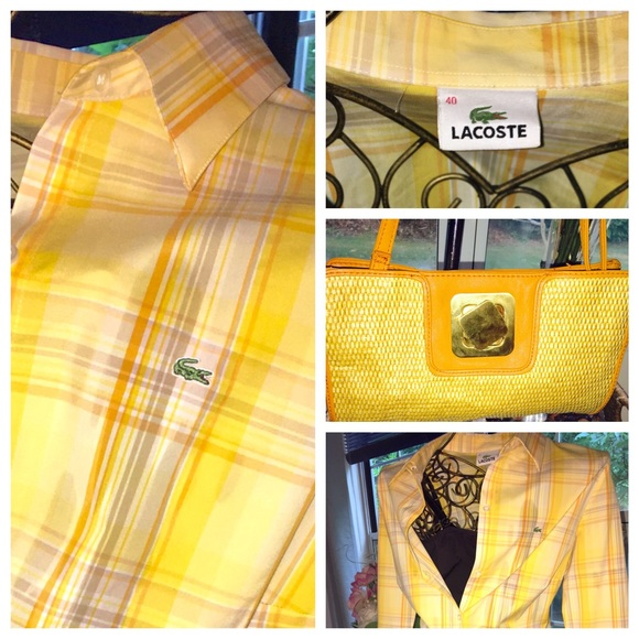 77 off lacoste tops ladies lacoste button down shirt w for Do gucci shirts run small