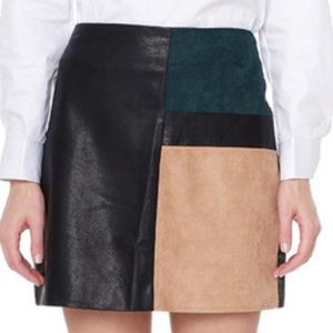 Soft vegan napa leather suede patch mini skirt