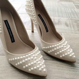 French Connection Shoes - Nude and white studded French Connection pumps