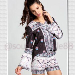 Boutique Tops - 2-Piece Flare Top & Short Set Size Large