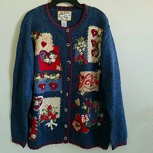 Heirloom Collectibles  Sweaters - Heirloom Collectibles Embr/Beaded Heart Sweater:Sm