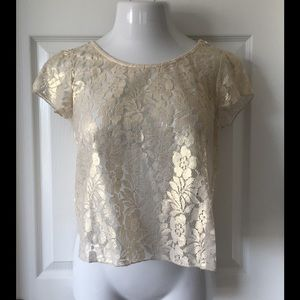 Pinky Tops - Beautiful Golden Lace Blouse.