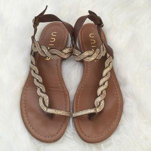 Unisa Shoes - Beautiful Unisa Lolli Gold Glittery Flat Sandals