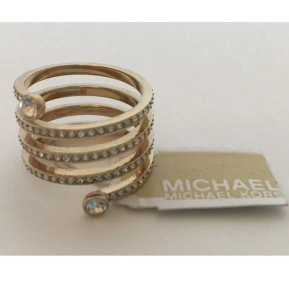 67977f3a7c442 Michael Kors coil swirl gold diamond like ring