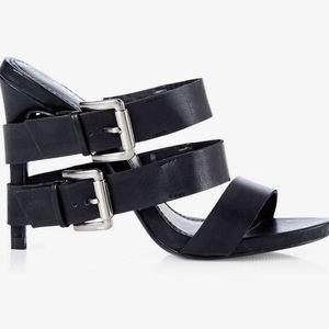 Express Runway Collection black buckle heels