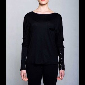 Callie Lives Tops - Shiny Faux Patent Leather Accented Long Sleeve Tee
