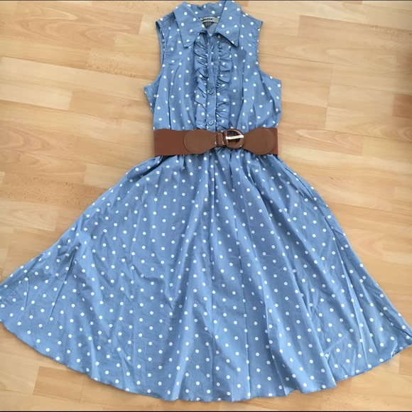 70% off Bailey Blue Dresses & Skirts - NWOT Polka Dot Collared ...