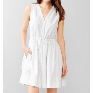 Gap White Dobby Fit & Flare Shirtdress